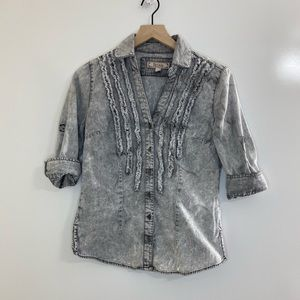 Decree Gray Ruffle Denim Button Down Top Medium